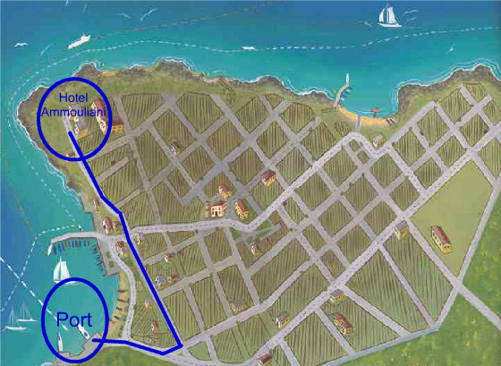 Route from port to hotel Ammouliani